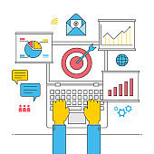 seo optimization online business strategy concept, internet commercial planning successful