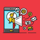 money business digital marketing notification contact to customer