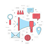business internet digital marketing, notification contact to online customer