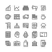 business online shopping store line icons set, money payment concept