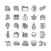 business money financial line icons set growth marketing company management