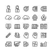 business line icons set, money and financial concept