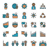 Business Team and Group Organization Flat Lined Icon Set