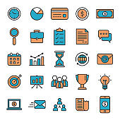 Business Banking and Financial Flat Lined Icon Set
