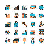 Business Profit and Financial Flat Lined Icon Set