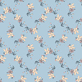 Drawing meadow bloom flowers. Hand draw cute floral seamless pattern. Nature abstract background vector wallpaper. Line art botanical illustration graphic design print. Trendy pastel blue, beige color