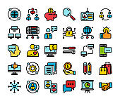 business and communication flat line icon