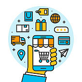 hand holding smartphone shoppping online store, shipping ecommerce business on mobile