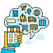 shopping online store concept, ecommerce business on mobile