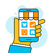 hand holding smartphone shopping online store concept, ecommerce business on mobile