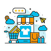 smartphone payment shopping online store concept, ecommerce business on mobile