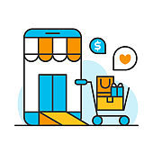 smartphone shopping online store concept, shipping ecommerce business on mobile