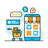 smartphone shopping online store concept, customer rating ecommerce business on mobile