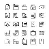 business email marketing and office document line icons set