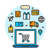 laptop shopping online store concept, shipping ecommerce business on mobile