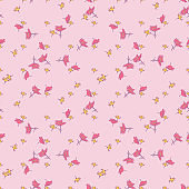 Hand drawn chamomile flowers, floral bloom seamless pattern abstract background wallpaper vector. Line art botanical illustration for graphic design, print. Trendy trendy nature colors pastel pink