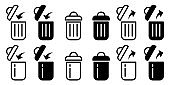Flat linear design. Trash can isolated icons. Black and white open and closed trash can. The symbol is to add to the trash and restore data from the trash. Vector illustration.