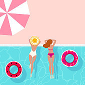 Swimming pool. Summer, holiday background design with pool, umbrella and swimmer girls, round floating rings