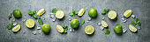 resh limes with ice cubes and mint leaves on wet  stone panoramic background.