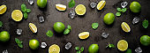 Fresh limes with ice cubes and mint leaves on dark wet panoramic background