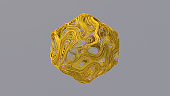 Yellow wire shape. Abstract illustration, 3d render.