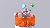 Colorful medicine pills and capsules. Abstract illustration, 3d render.