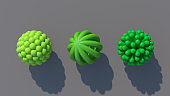 Three green abstract shapes. Gray background, hard light. 3d render.