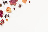 Autumn background made of leaves, berries and cones.