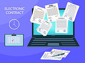 Electronic contract, digital key, signature, vector illustration. A lot of paper documents with a seal, laptop. Online form, treaty, internet office. The concept of paperwork, treaty, agreement, deal