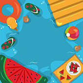 Beautiful Summer Beach Sea Pool Vacation Top View Background Illustration 02