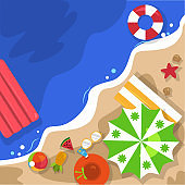 Beautiful Summer Beach Sea Nature Vacation Top View Background Illustration 06