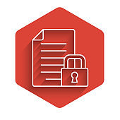 White line Document and lock icon isolated with long shadow. File format and padlock. Security, safety, protection concept. Red hexagon button. Vector