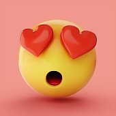 3D Rendering falling in love emoji isolated on pink background