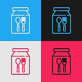 Pop art line Online ordering and fast food delivery icon isolated on color background. Vector