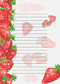 Recipe page template. Cookbook page template. Sheet of paper in a line Watercolor recipe page with strawberry decor. Page for culinary book. Page with strawberries for recipes, desserts.