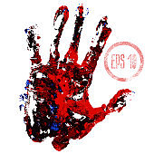 Bloody hand print isolated on white background. Horror scary blood dirty handprint and fingerprint vector illustration