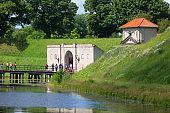 Old Citadel, Kastellet, view on bridge and King Gate, Copenhagen, Denmark