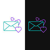Line Envelope with Valentine heart icon isolated on white and black background. Message love. Letter love and romance. Colorful outline concept. Vector