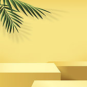 Abstract background with yellow color geometric 3d podiums. Vector illustration