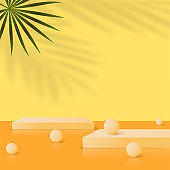 Abstract background with yellow geometric 3d podiums. Vector illustration.