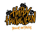 Happy halloween - cute hand drawn doodle lettering label. Halloween party - Trick or Treat. Lettering art for poster, web, banner, t-shirt design, patter, background.