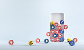 Increase icon (heart, love, follow, like) in smartphone. Social media successful marketing strategies.
