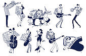 Set of funny jazz musician characters.