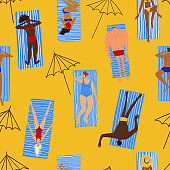 Colorful seamless pattern with people on the beach