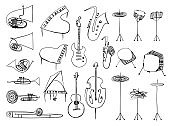 Collection of outline drawing music instruments