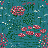 Rustic seamless pattern with wildflowers.