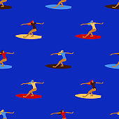 Seamless pattern with surfing women