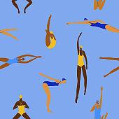 Swimming women seamless pattern design
