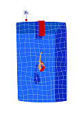 Swimming pool illustration with jumping woman