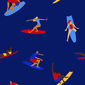 Colorful seamless pattern with surfers